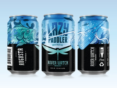 LAZY PADDLER packaging illustration ipa packaging can fish beer