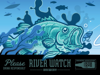FISH (FOR SCALE) packaging beer bass fish illustration