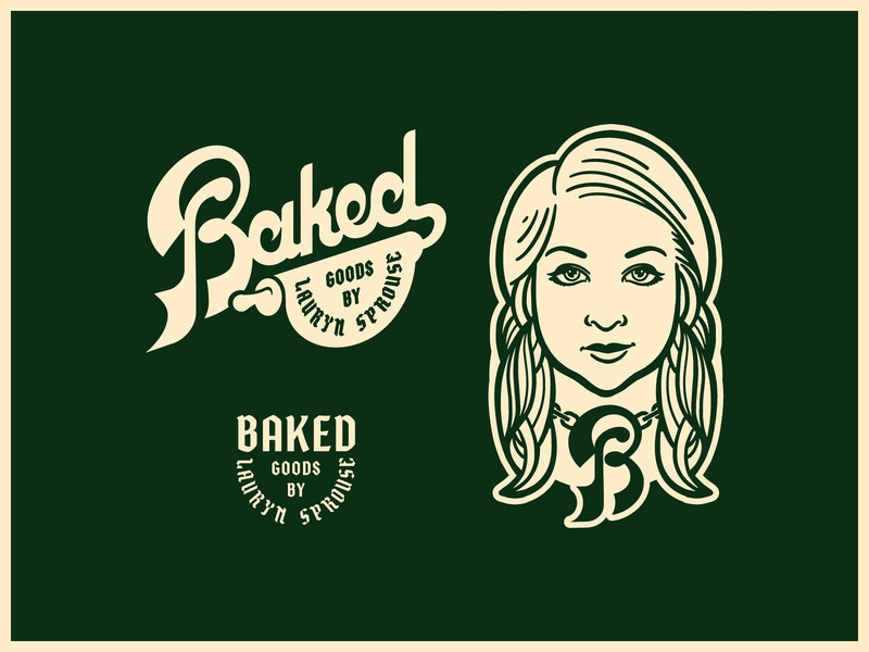 BAKED typographic portrait typography logo illustration