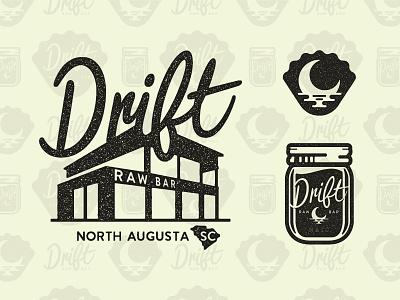 Drift Raw Bar seafood logo design handlettering scriot illustration logo