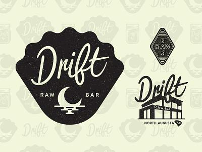 Drift Raw Bar branding lettering design icon logo illustration