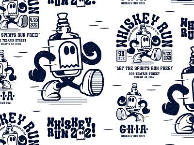 WHISKEY RUN run whiskey isthisthingon art branding badge lettering drawing design thicklines logo illustration