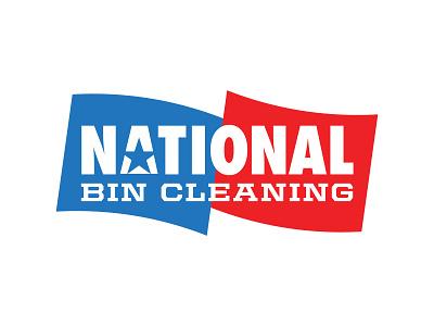 National Bin Cleaning Logo flag design thicklines logo
