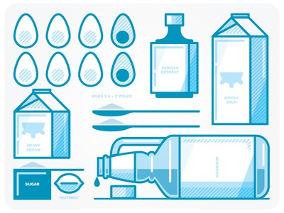 the Ingredients icons illustration collage monoweight thicklines blue recipe
