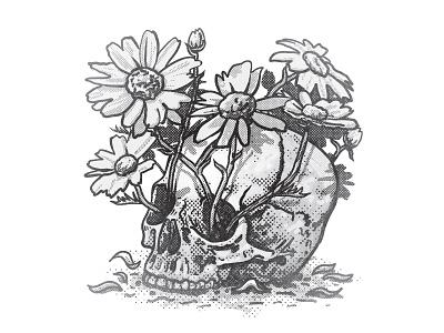 Pushin' up Daisies illustration october skull