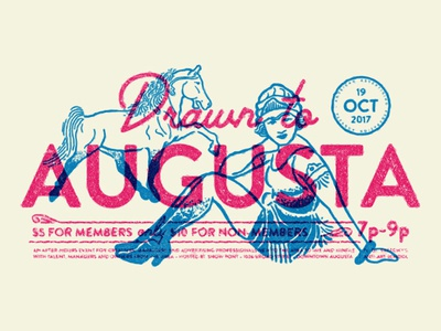 Drawn to Augusta overprint girl horse aaf event illustration