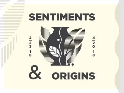 Sentiments & Origins leaves gotham lockup illustration