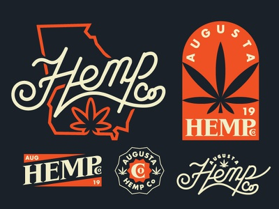 HEMP Co 2color monoline thicklines illustration logo cbd weed hemp