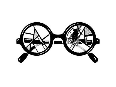 Wizard of the Flies illustration mashup glasses logo literature harry potter aiga