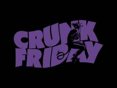 CRUNK AT THE MOON lettering shirt sticker friday
