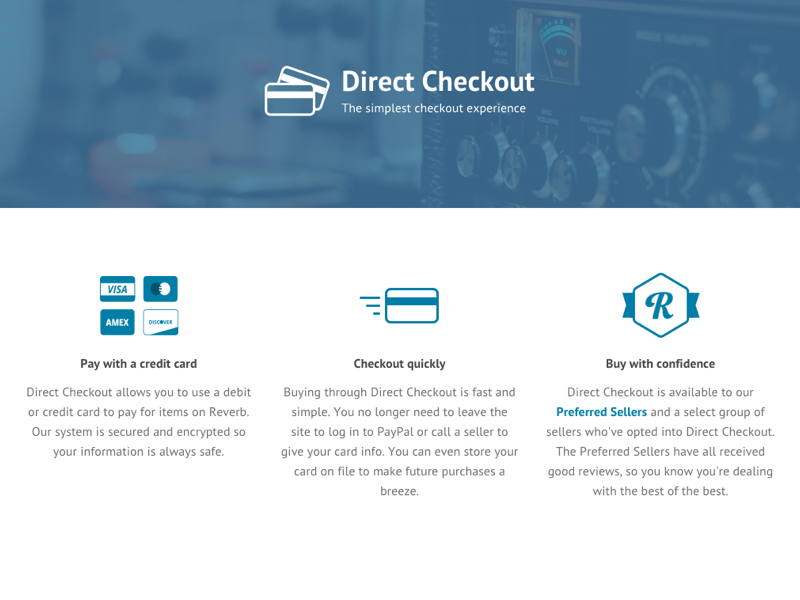 Direct Checkout Page reverb reverb.com marketing landing page