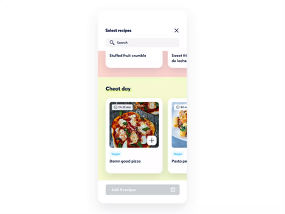 SmartWithFood Recipe Selection healthy animation collection cookbook modal meal plan recipes cards food motion interaction animation app branding design ui