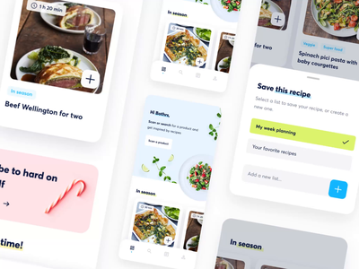 SmartWithFood App modal homepage ui meal plan healthy food design cookbook collection cards branding animation