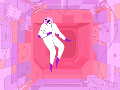 Floating! branding illustration control room cabin astronaut procreate adobe motiondesign design 2d character 2d art floating interior characterdesign spaceship iss spacestation space