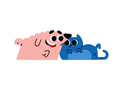 Besties! cartoon characters characterdesign besties minimal vectors sketch illustration dogs dog cats cat
