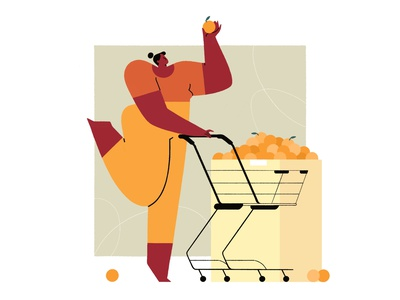Orange! 🍊 grocery minimal sketch fruits cart orange oranges supermarket vector branding illustrator design 2d art charactedesign 2d character illustration