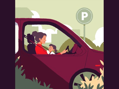 Parking! 🚙 autumn illustration charactedesign 2d character driving kids young adult family daughter mother mom parking app parking