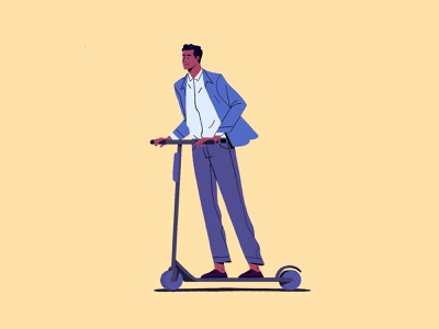 E-scooter! 🛴 transport illustrator adobe illustration 2d character design artwork 2dcharacter characterdesign transportation commuting commute escooter scooter