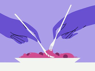 🍝!! flat  design flat design simplicity meatballs purple spaghetti pasta food hands hand illustrator vector illustration vector art branding design adobe illustration