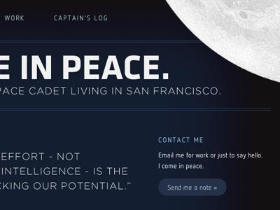 Roger Wilco 4 space moon peace work portfolio rotate css3