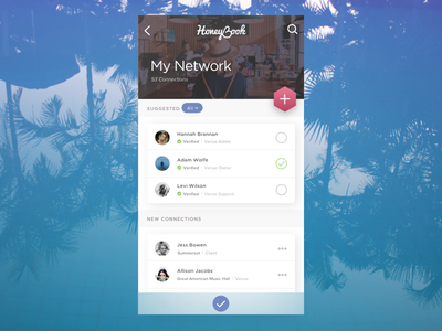 Honeybook design concept ux ui interface filter application connections network search mobile design concept