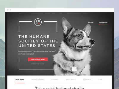 Friday5 Humane Society charity splashpage website webdesign signup brand desktop splash clean
