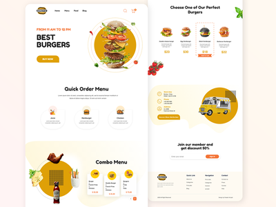 Food Truck Landing Page landing page typography ui website design