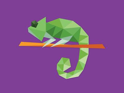 Chameleon low poly chameleon illustration flat illustration species in pieces