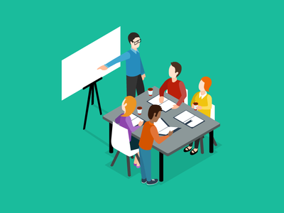 Agile Coaching learning lean ux lean scrum flat illustration whiteboard lesson coaching isometric agile