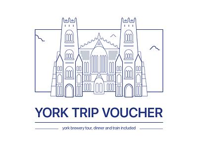 York Trip Voucher cathedral church line drawing flat illustration voucher york york minster