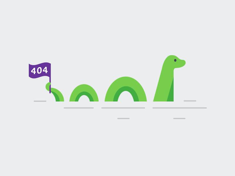 404 Nessie Illustration nessie loch ness 404 ui stack error 404 page illustration