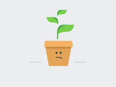 500 Sage Seedling Illustration flat illustration ui stack 500 error sage sad plant