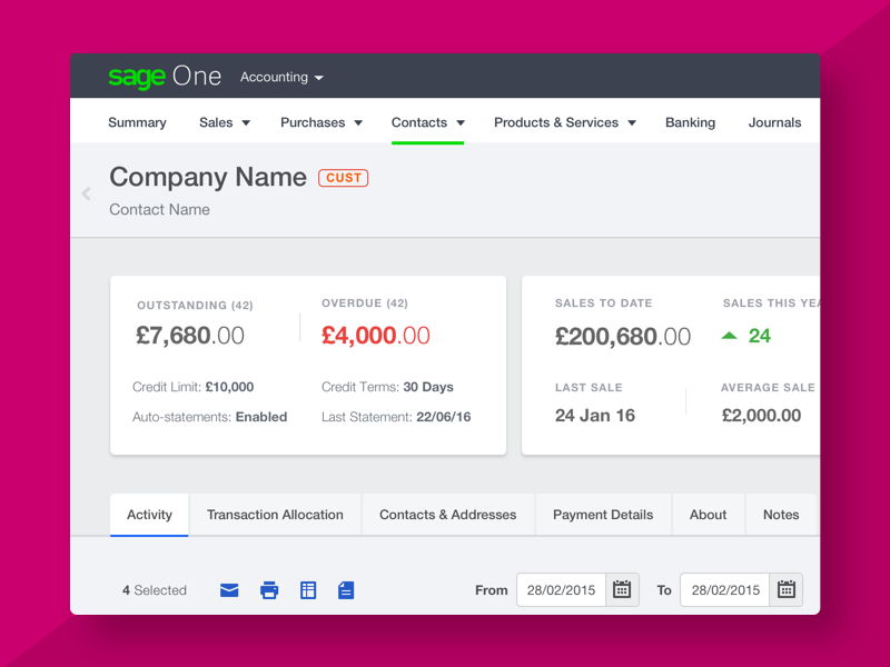 New Contact Screens accounting sage contacts payments debt chasing ui refresh invoicing finance