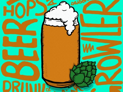 Beer me design illustraor foamy hops cheers beer draw photoshop illustration