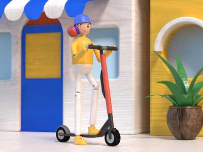 Scoot toys octane c4d 3d scooter uber