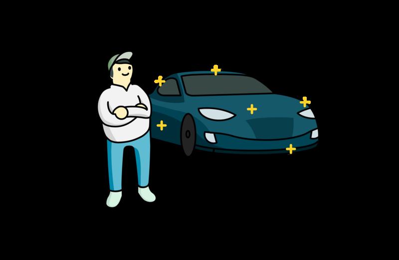 Discarded Car Guy vector illustration