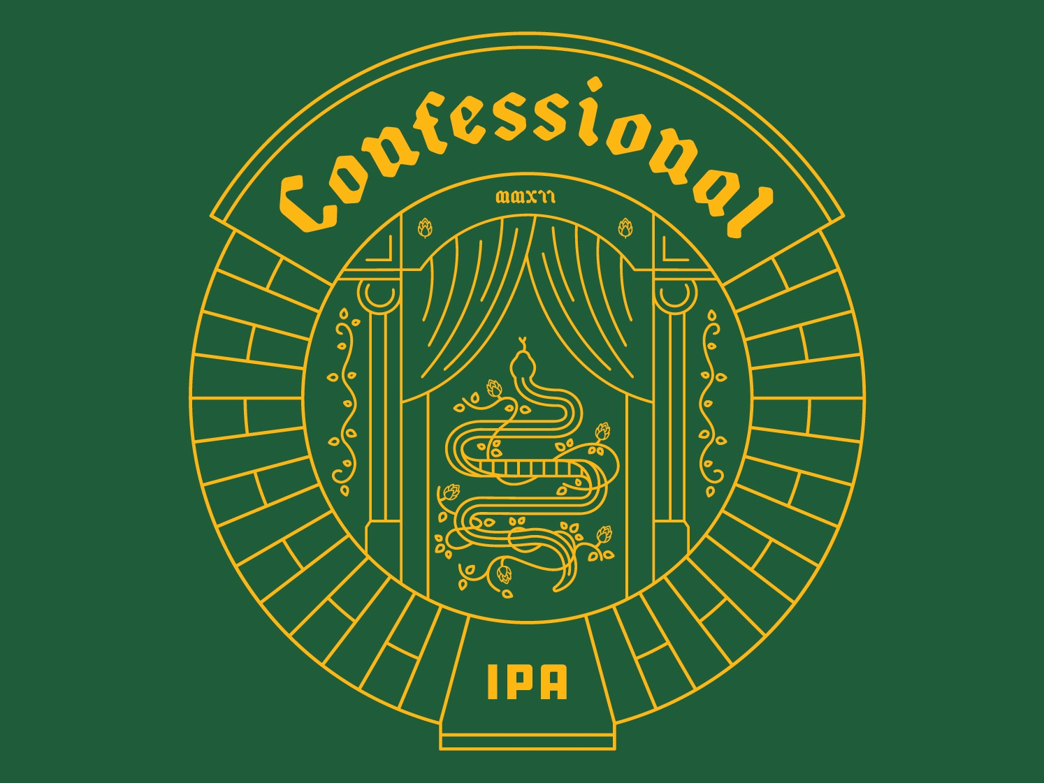 St. Joseph Brewery Confessional IPA identity branding identity branding concept logo design brand design vector branding concept snake illustration serpent coaster beer ipa