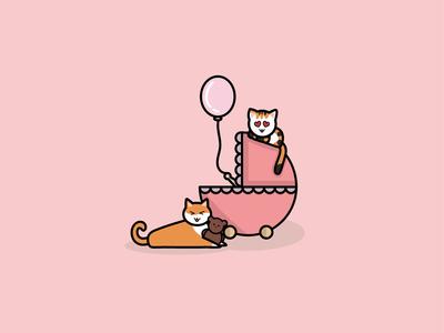 New birth illustrations for girl