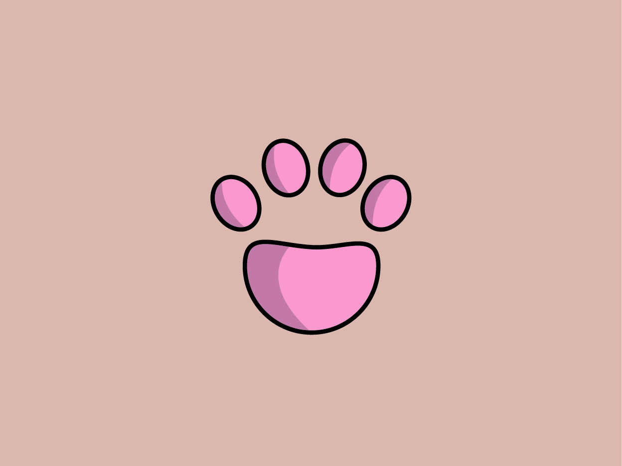 Paw cat love cat paw rose pink paw print paw icon colours cat kitten cat illustration cat drawing cat logo cats art decor animals vector design drawing illustration