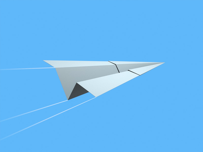 Paper Plane web loop animation design 3d
