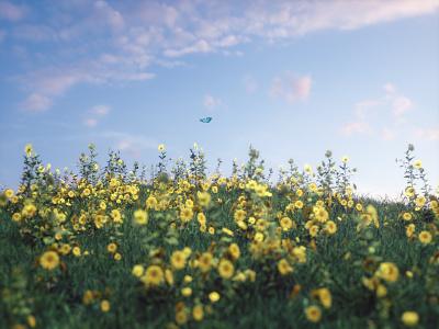 3d Landscape octane foliage flowers grass plants landscape c4d design 3d