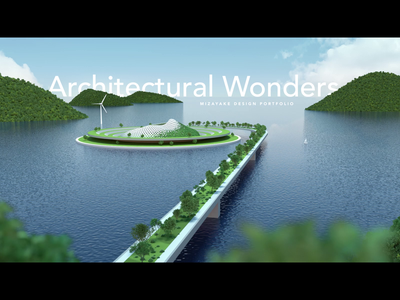 3d landscape water green architecture landscape typography motion ux ui webdesign hero header c4d animation 3d design