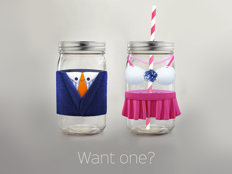 Jarre Dribbble cg dressed jar realistic straw