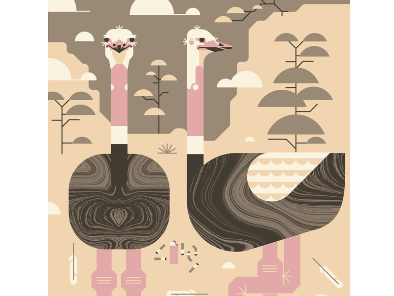 Ostriches on Guard geometric design trees hills grass crickets landscape brown pink legs ostrich bird texture illustration