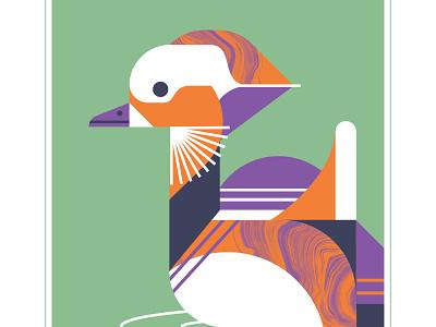 Mandarin Duck geometric orange purple color swim feather fly duck mandarin bird design vector illustration