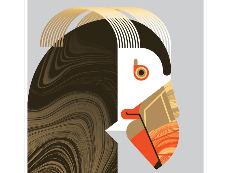 Macaroni Penguin line art psychadelic line penguin orange geometric bird character texture design vector illustration