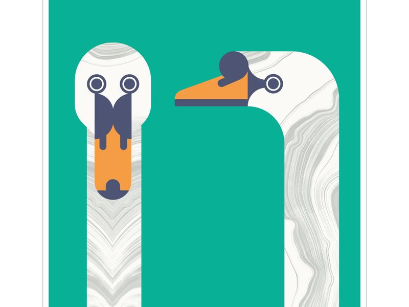 Mute Swans line geometric texture graphic beak fly vector bird illustration