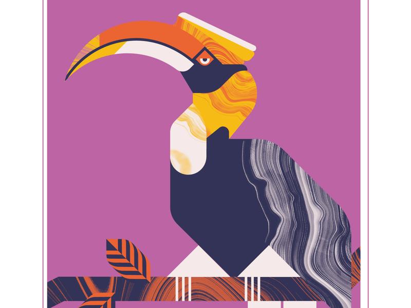 Great Hornbill bird illustration animal flight marble hornbill bird geometric texture design vector illustration