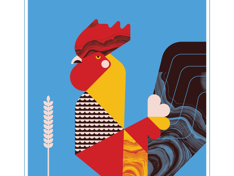 Rooster animal fly rooster blue bird texture design vector illustration