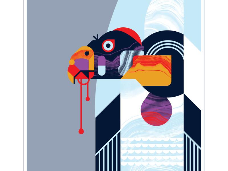 King Vulture feather eye blood scavenger vulture pink purple orange bird character texture design vector illustration